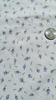 """Vintage 34"""" Fabric- Lavender Rose Buds on White Tiny Calico Cotton TINY PRINT COTTON Quilting sewing doll dresses by rockabillyfinery"""