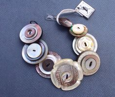 Button bracelet mother of pearl handcrafted artisan jewelry on Etsy, $75.00