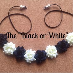 Black and White Roses Flower Headband Festival by QueenofKarma