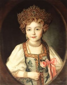 Russian costume in painting. Portrait of Grand Duchess Alexandra Pavlovna in Russian Costume. Circa 1790 - Alexandra Pavlovna - was a beloved granddaughter of the Russian Empress Catherine II (Catherine the Great). Russian Folk, Russian Art, Russian Style, Costume Russe, Catherine The Great, Miniature Portraits, Imperial Russia, Russian Fashion, Oeuvre D'art