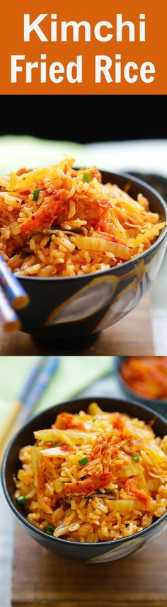 Kimchi Fried Rice - the easiest and best fried rice made with Korean kimchi. Spicy, flavorful and absolutely delicious. Dinner takes 15 mins Rice Recipes, Asian Recipes, Vegetarian Recipes, Cooking Recipes, Healthy Recipes, Korean Dishes, Korean Food, Chinese Food, Kimchi Fried Rice