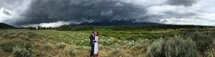 A dramatic day for a wedding. Our client's Jen Simon and Adam Meyer under the Jackson, WY sky. Photo credit: Bradley J. Boner.