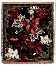 POINSETTIA 'N PLAID CHRISTMAS HOLIDAY TAPESTRY THROW - With Love Home Decor