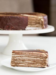 Chocolate Layer Cake (aka Spartak Cake) slice on a plate Russian Honey Cake, Russian Cakes, Baking Recipes, Cake Recipes, Dessert Recipes, Desserts, Bolo Russo, Crepe Cake, Cake Servings