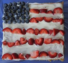 Patriotic Fruit Pizza Recipe for Kids- marshmallow and cream cheese frosting - oh my!