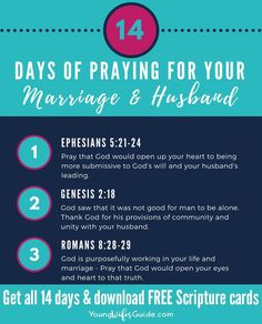 Praying for your husband is vital in your marriage! Head over the the Young Wifes Guide for these scripture cards and tips of praying for your husband. Marriage Scripture, Marriage Prayer, Marriage Advice, Love And Marriage, Bible Verses, Scripture Cards, Scriptures, Prayer For Husband, Praying For Your Husband