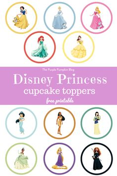 Disney Princess Cupcake Toppers - Free Printable. These are PERFECT for a Disney Princess themed birthday party! Just print and cut as many as you need! Plus loads more awesome free Disney printables!