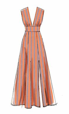 # Long Dress Patterns Sewing Pattern Women's Dress Pattern, Deep V Neck Dress Pattern, Long Sleeve Dress Pattern, Flared Dress, McCall's Sewing Pattern 7802 Tunic Sewing Patterns, Pattern Sewing, Maxi Dress Sewing Pattern, Neck Pattern, Patterns For Dresses, Easy Dress Pattern, Summer Dress Patterns, Dress Design Sketches, Drawing Sketches