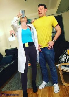 Rick and Morty Costume - Halloween Costume Contest via @costume_works - COSPLAY IS BAEEE!!! Tap the pin now to grab yourself some BAE Cosplay leggings and shirts! From super hero fitness leggings, super hero fitness shirts, and so much more that wil make you say YASSS!!!