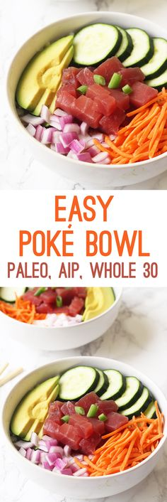 Easy Poké Bowl (Paleo, Whole AIP) – Unbound Wellness Source by randomsally Lunch Recipes, Seafood Recipes, Paleo Recipes, Asian Recipes, Poke Bowl, Paleo Whole 30, Whole 30 Recipes, Clean Eating, Healthy Eating