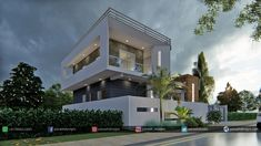 Panash Design Studio - Take a look of our best design list of Commercial Elevation Projects. Home Door Design, 2 Storey House Design, Bungalow House Design, House Front Design, House Design Photos, Classic House Exterior, Modern Exterior House Designs, Village House Design, Kerala House Design