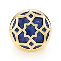 Paloma's Zellige ring in 18k gold with lapis lazuli.