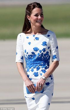 Summery dress: The Duchess of Cambridge arrives at the Royal Australian Airforce Base at Amberley, Brisbane