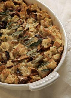 Chanterelle-sage bread pudding