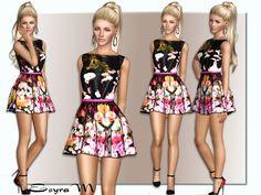 Floral print dress by EsyraM - Sims 3 Downloads CC Caboodle