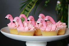 The cupcakes at this Flamingos Baby Shower are so impressive! See more party ideas and share yours at CatchMyParty.com #catchmyparty #partyideas #flamingoparty #flamingobabyshower #girlbabyshower #flamingocupcakes