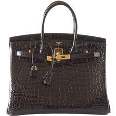 Pre-owned HERMES BIRKIN bag 35 Porosus crocodile coveted Black gold... (1.689.345 ARS) ❤ liked on Polyvore featuring bags, handbags, handbags and purses, hermes birkin bags, top handle bags, preowned handbags, hermes bag, crocodile handbags and hermes handbags
