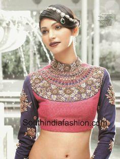 Gorgeous 'Maharani' http://www.Sabyasachi.com/ Mukherjee high neck, full sleeved blouse, polki adornment on hair