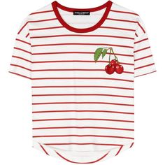 Dolce & Gabbana Striped Cotton T-Shirt With Appliqué (1 800 PLN) ❤ liked on Polyvore featuring tops, t-shirts, shirts, short sleeve, white, white cotton t shirts, short sleeve t shirt, white short sleeve shirt, striped t shirt and stripe t shirt