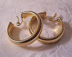 Monet Omega Open Hoops Clip On Earrings Gold Tone Vintage Wide Lined