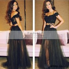 Find More Prom Dresses Information about 2015 Hot Sale Vestido De Festa Sexy V Neck Appliques Cap Sleeve Backless New Arrive Black Long A Line Two Piece Prom Dresses,High Quality cap tiger,China cap sleeve t shirt Suppliers, Cheap cap sleeve summer dress from Suzhou FanJieShi Wedding Dress Co., Ltd. on Aliexpress.com