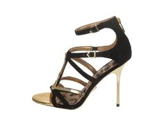 This sexy gladiator stiletto gleams with gold-plated hardware and a back zip.