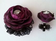 Plum and Black Corsage and Boutonniere Set-Wedding