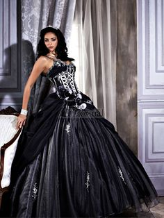 A black or black and white quince gown can also work as a #wedding_dress.