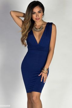 Sleeveless Ruched Sexy Royal Blue Dress with Deep V Neck & Back
