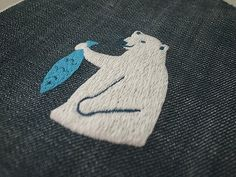 Embroidery black bear / シロクマ刺繍