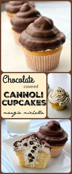 Chocolate covered cannoli cupcakes are a delicious and impressive dessert. They are stuffed and iced with cannoli cream and has a chocolate candy shell ~ www.mangiamichell...