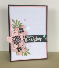 handmade birthday card ... lovely Botanical Blossoms die cut from pink patterned paper ...