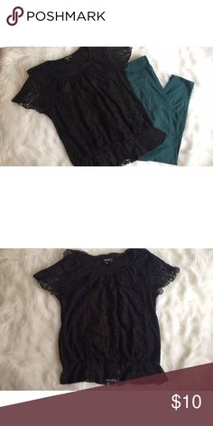 Black lace blouse Black lace blouse. Very cute when paired with colorful leggings or jeans. Still in great condition Style & Co Tops Blouses