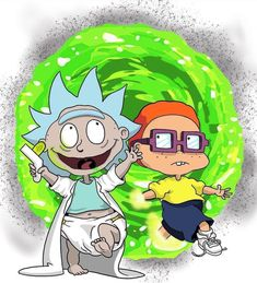 Rick and Morty - Rugrats Universe [Alternative Art] R Rick And Morty, Rick And Morty Crossover, Rick And Morty Poster, Chuckie Rugrats, Rugrats Characters, Rick And Morty Drawing, Tommy Pickles, Rick And Morty Stickers, Pencil Drawings