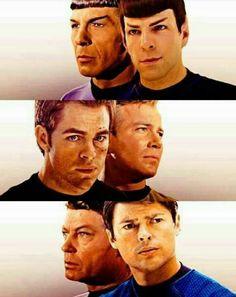 Original & JJ cast and crew. Spock, Kirk, and Bones.