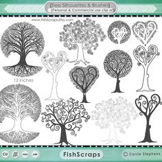 Whimsical Tree Clip Art Tree of life Silhouette by FishScraps