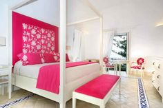 Chic Bedroom Painting Ideas to Make Colorful Space: Captivating Bedroom Painting Ideas In Contemporary Bedroom With Several Pink Pillows Whi. Hot Pink Bedrooms, Pink Master Bedroom, Pink Bedroom Design, Pink Bedroom Decor, Pink Bedroom For Girls, Romantic Bedroom Decor, Girl Bedroom Designs, Bedroom Colors, Bedroom Ideas