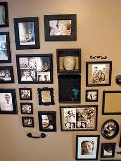 Staircase ideas on pinterest paint trim hallways and for Picture frames organized on walls