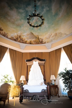Beautiful Wedding dress with mural ceiling Painted Paneling Walls, Painted Rug, Painted Ceilings, Sky Ceiling, Ceiling Murals, Wall Murals, De Gournay Wallpaper, Wall Wallpaper, Ceiling Painting