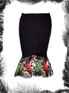 horror monsters gothic zombie frill wiggle skirt. £44.99 http://www.emeraldangel.co.uk/horror-monsters-gothic-skirt.html