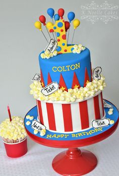 Beautiful Picture of Carnival Birthday Cakes Carnival Birthday Cakes Carnival Theme With Popcorn K Noelle Cakes Cakes K Noelle Carnival Birthday Cakes, Circus Theme Cakes, Carnival Cakes, Carnival Themed Party, Themed Birthday Cakes, Boy Birthday Parties, Themed Cakes, Birthday Ideas, Carnival Parties