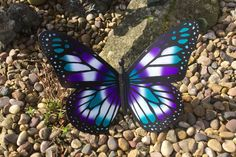 Handpainted Purple / Turquoise Outdoor Garden Butterfly Art by CraftyBigBirds on Etsy
