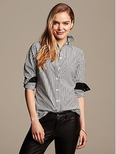 Fitted Non-Iron Striped Shirt | Banana Republic