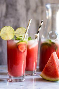 Sugar-Free Watermelon Strawberry Agua Fresca - super simple, five-ingredients | healthynibblesandbits.com
