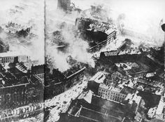 Warsaw's downtown burning after an air raid by the Luftwaffe