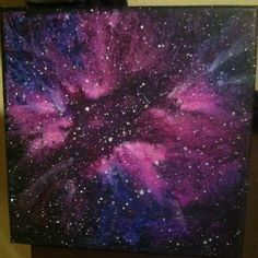 Melted crayon art canvas by Lauren Elizabeth. Exploding star / galaxy scene. Galaxy stars space