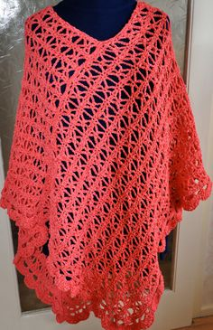 PLUS SIZE Choral Ribbon Lace Poncho by TheYarnYarn on Etsy, $75.00