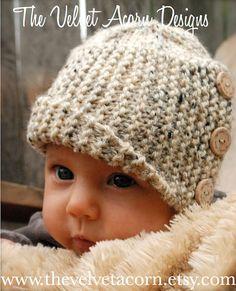 Tricot PATTERN-The bébé Poppy Cloche' (tailles de 0/3-3/6-6/12 mois)