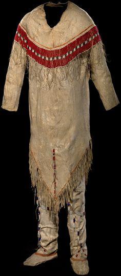 Gwich´in shirt and leggings ca. 1860–1890 Alaska Caribou hide, glass beads, pigment, sinew 126 x 127 cm (shirt), 128 x 60 cm (leggings) William M. Fitzhugh Collection  http://nmai.si.edu/exhibitions/infinityofnations/arctic-subarctic/193265.html