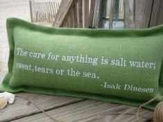 """""""Tailor Your Babble"""" Custom Seaworthy Lumbar Pillows. Quote: The Cure For Anything. The Seaworthy Collection is handsomely hand tailored in the Carolinas of high quality jute burlap.  @Cottage Coastal & Kim"""
